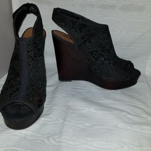 0dbc26e8c3e Lucky Brand Shoes - Lucky Brand Rezdah2 Open Toe Lace Wedge.Heels